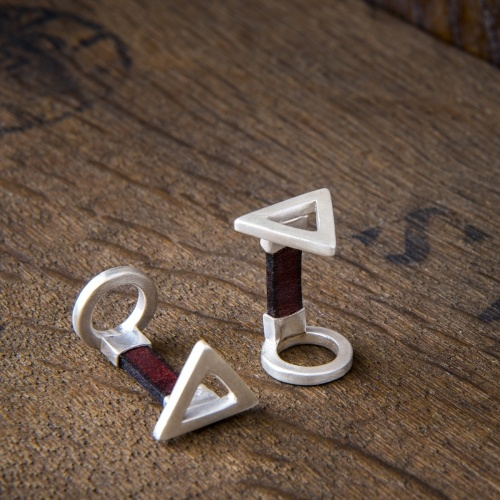 Handmade Silver and Leather Triangle Cufflinks by Kimberley Selwood Designer Jeweller