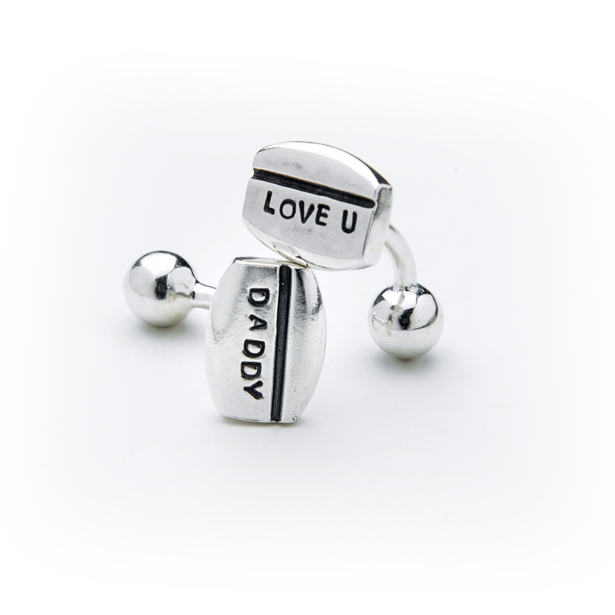 Silver Personalised Cufflinks with line detail