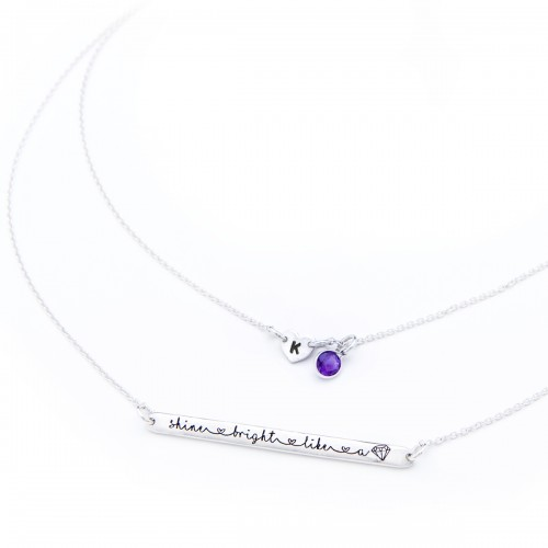 Shine Bright like a diamond necklace with initial and gemstone