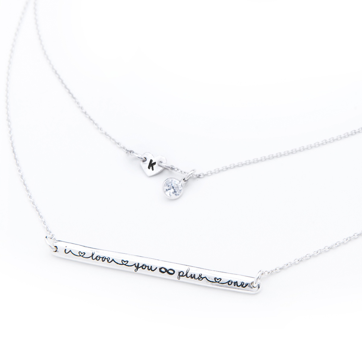 i love you infinity necklace. Handmade jewellery for you, Personalise with an initial and your choice of gemstone.