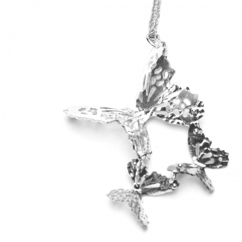 Sterling Silver Triple Butterfly Necklace handmade by kimberley Selwood